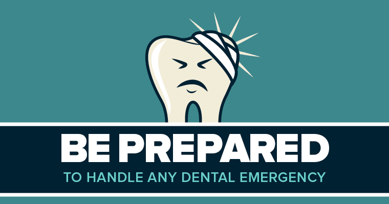 Cartoon tooth with bandage showing dental emergency