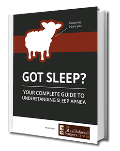 Preview of our FREE sleep apnea eBook from The Maxillofacial Surgery Center - clicking this image will open a new window to our eBook