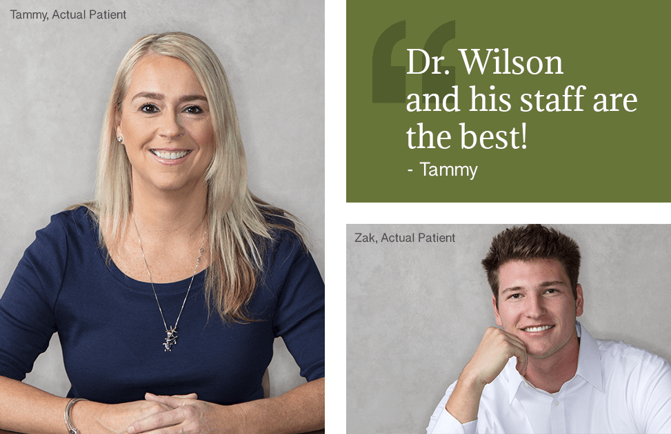 "Oral surgeon - Phoenix AZ - Patient Reviews - Multiple images showing an actual patient with the review, ""Dr. Wilson and his staff were amazing!"" and Dr. Wilson (Oral surgeon Phoenix) with his wife."